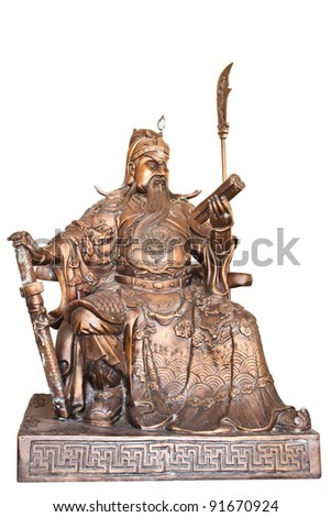 Chinese legend of the god's statue isolated on white background,with clipping path.