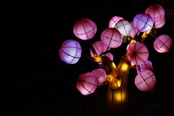 Chinese lights festival, a lighted pink tree against black sky. Chinese lantern festival tree, lights at night, lamps, black sky
