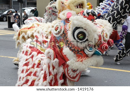 Chinese Lion dance - stock photo