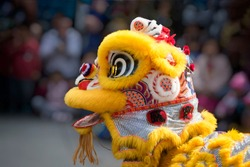 Chinese lion dance costume close up with people in background