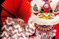 Chinese lion dance for Chinese new year with red fan in the background
