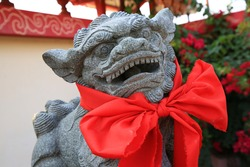 chinese lion statue in chinese temple,chinese happy new year