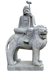 Chinese Lion stone Carving statue Guardian temple. Eighteen Arhats Monk Buddhist Lohan Sculptures marble Chinese culture isolated on white