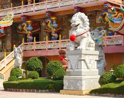 chinese lione stone statues in temple