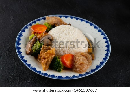 chinese lohan vegetarian with rice