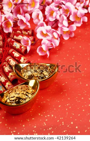 Chinese lunar new year ornaments on festive background.
