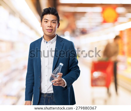 chinese man holding water #279880367