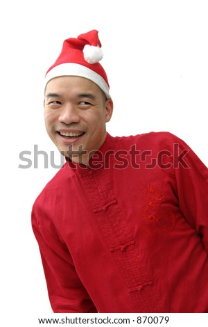 Chinese man in a red Chinese top and Santa hat