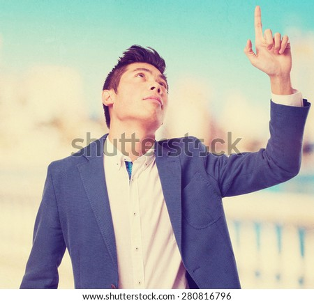 chinese  man pointing up