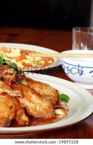 chinese meal with chicken wings