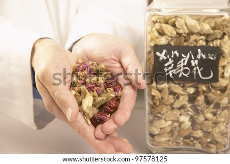 Chinese medicinal herbs in jar and cupped hands - stock photo