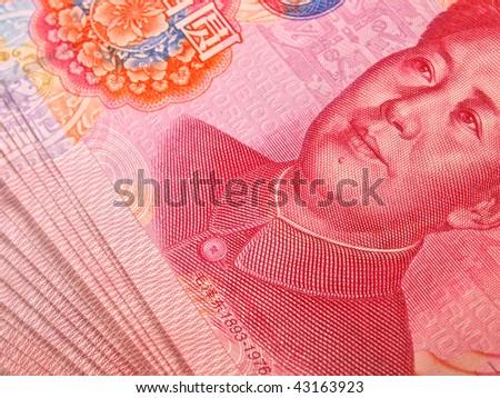 Chinese money close up