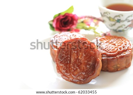 Chinese Moon Cake, with Chinese tea