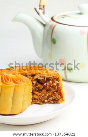 Chinese mooncake - stock photo