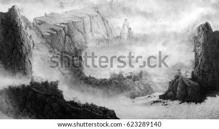 Chinese mountains, fog, waterfall and small houses