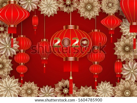 chinese new year background with gold flowers and red lanterns