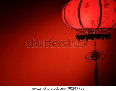 Chinese new year decoration--Red lantern with copy space.