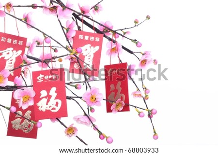 Chinese New Year Decoration--Red Packet on Plum Branch,Character on Packet Symbolizes Good Luck. - stock photo