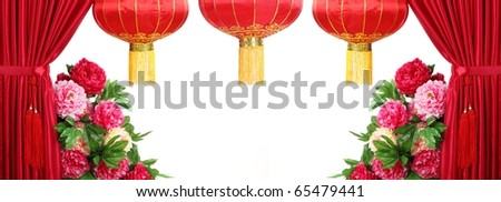 Chinese New Year Decoration--Red Satin Curtain,Tree Peony and Red Lantern with Copy Space.
