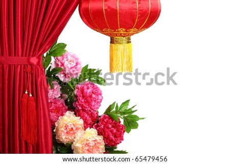 Chinese New Year Decoration--Red Satin Curtain,Tree Peony and Red Lantern with Copy Space. - stock photo