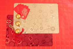 Chinese new year decoration red table, tablecloths  ancient Chinese coins from  Qing period, Translation