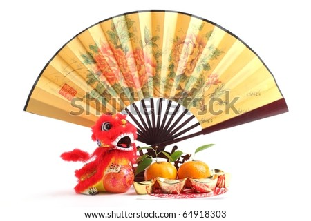 Chinese new year decoration--Traditional fan with Gold Ingot,Dancing Lion and Oranges.