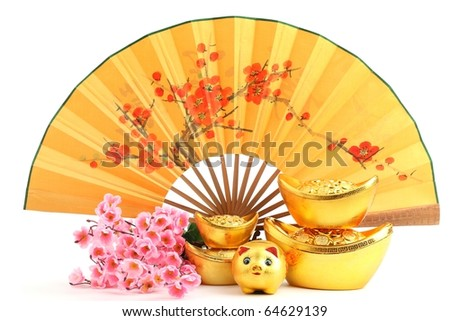 Chinese new year decoration--Traditional fan with Gold Ingot,Piggy Bank and Plum Blossom.