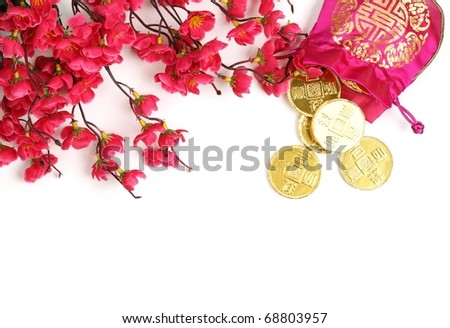 Chinese New Year Decoration--Traditional money bag,gold coin and pink plum blossom.