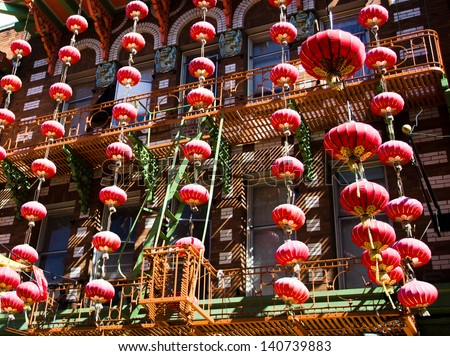 Chinese new Year decorations in San Francisco chinatown
