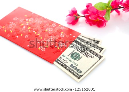 Chinese new year festival decorations on white background, red packet or ang pow is given to children and elders during chinese new year for blessing.