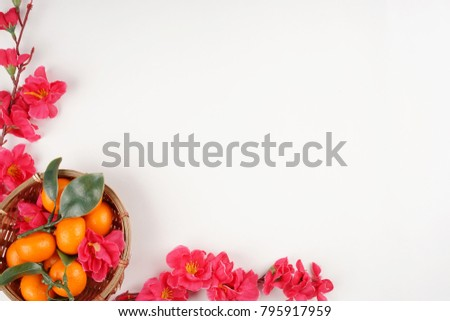 Chinese New Year flat lay background with assorted festival decorations. #795917959