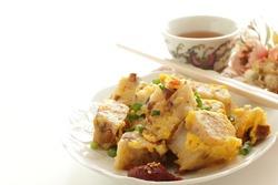 Chinese new year food, fried turnip cake