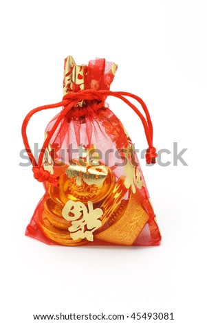 Chinese new year gold ingots and coins in red decorative sachet on white background