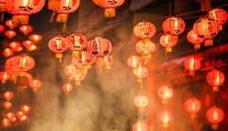 Chinese new year lanterns in chinatown, firecracker celebration
