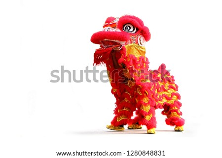Chinese New Year lion dance celebration over white background #1280848831