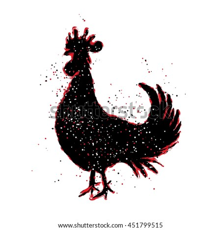 Chinese 2017 new year of the Rooster symbol. Red and black paint color brush roosters silhouette. Imitation of hand drawing or painting of rooster with Chinese calligraphy Inksticks or India ink.