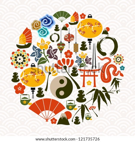 Chinese New Year of the Snake icon set globe composition.