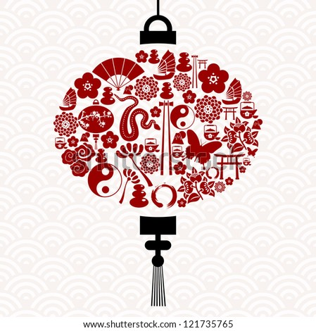 Chinese New Year of the Snake icon set lamp composition background.