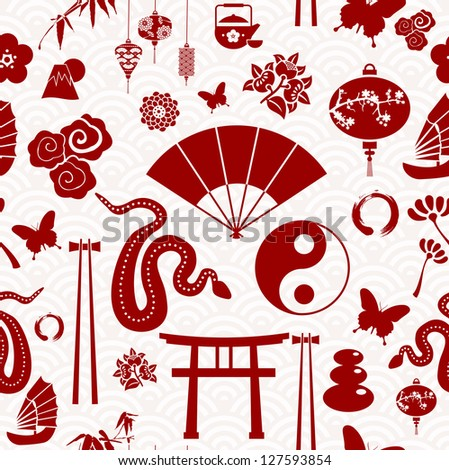 Chinese New Year of the Snake icons seamless pattern.