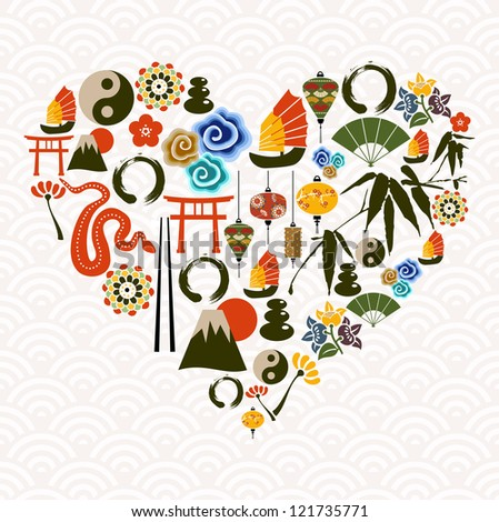 Chinese New Year of the Snake multicolored icon set composition heart.