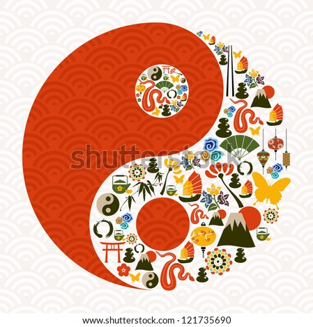Chinese New Year of the Snake yin yang symbol composition.