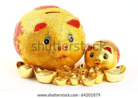 Chinese new year ornament--Gold piggy bank and ingot on white background.