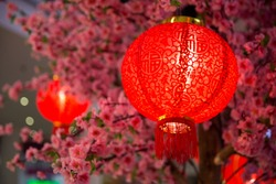 Chinese New year red paper latern decoration in shopping mall.
