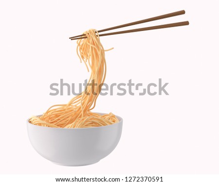 Chinese noodle or Japanese Instant noodle Chopped with chopsticks form white bowl, twist or swirl shape 3d Illustration.