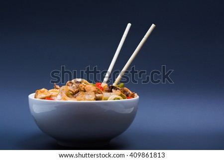Chinese noodles with a chicken and vegetables #409861813