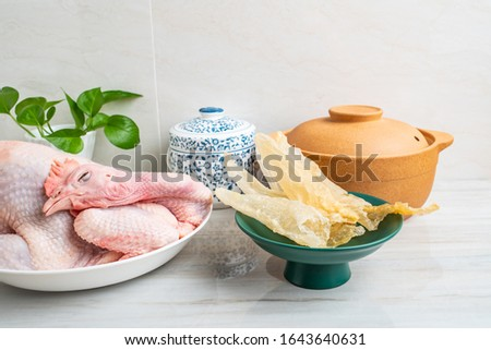 Chinese nutritious health soup ingredients mix, fresh hen and maw