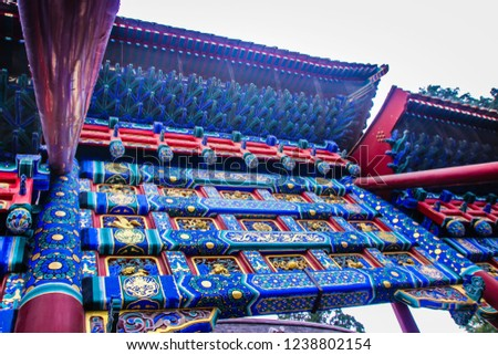 Chinese old palaces and temples' decorative elements and textures #1238802154