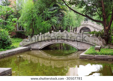 Chinese old style arched bridges in the garden.