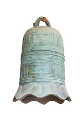Chinese old style big bronze bell isolated on white. The bronze bell is one of the oldest musical instruments in asia.