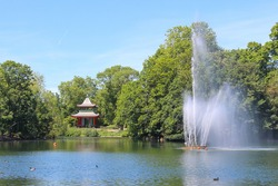 Chinese Pagoda and fountain in Victoria Park, east London
